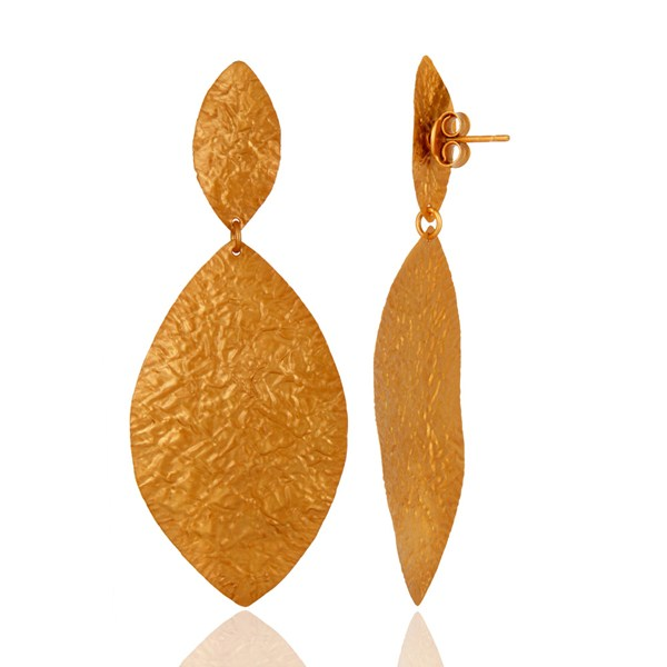 Suppliers Handcrafted Solid Sterling Silver Dangle Earrings With Yellow Gold Plated