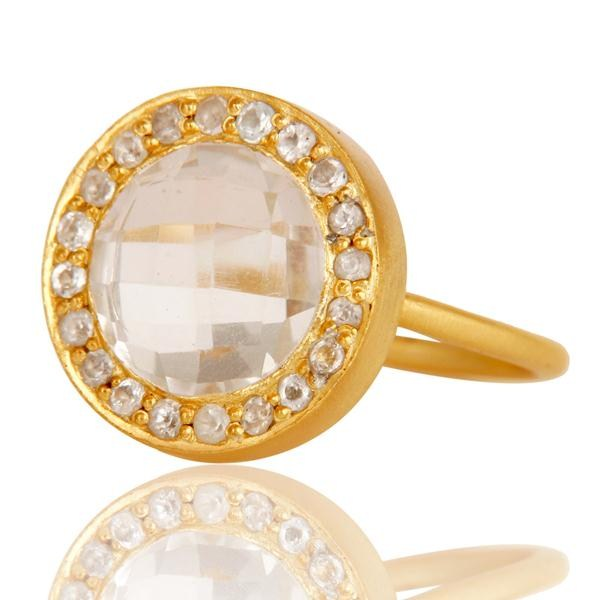 Suppliers 18K Yellow Gold Plated Sterling Silver Crystal & White Topaz Cocktail Ring
