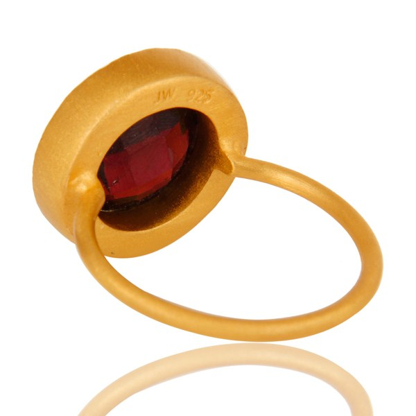 Suppliers 18K Yellow Gold Plated Sterling Silver Garnet And White Topaz Stackable Ring