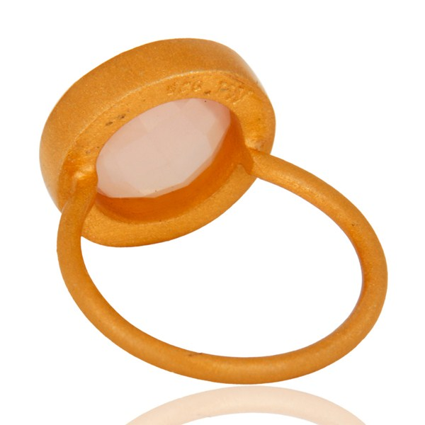Best Quality 18K Gold Plated Sterling Silver Rose Chalcedony And White Topaz Cocktail Ring