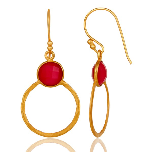 Suppliers Red Aventurine 18K Gold Plated Sterling Silver Circle Earring