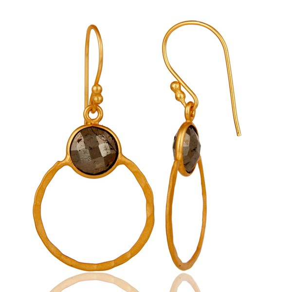 Suppliers Pyrite and 18K Gold Plated Sterling Silver Circle Earring
