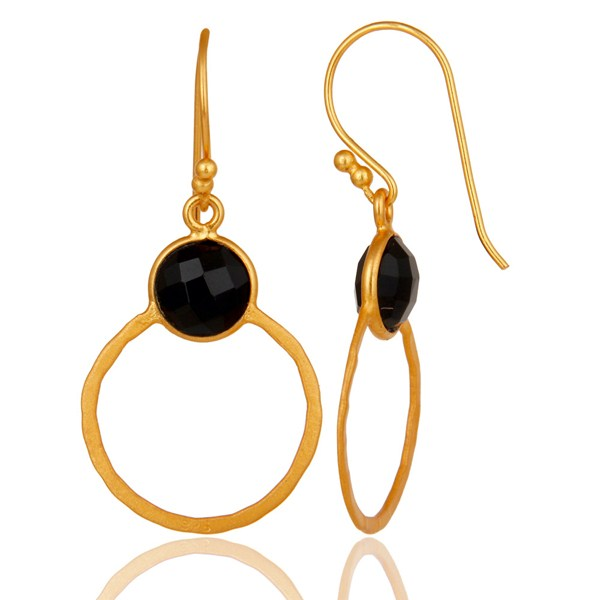 Suppliers Black Onyx 18K Gold Plated Sterling Silver Circle Earring