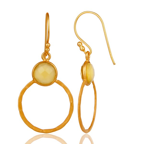 Suppliers Yellow Chalcedony 18K Gold Plated Sterling Silver Circle Earring