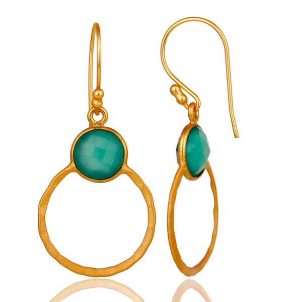 Suppliers Green Onyx & 18K Gold Plated Sterling Silver Circle Earring