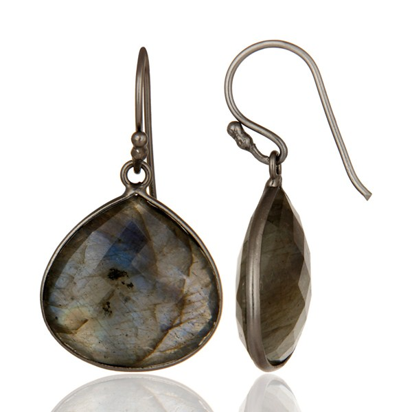 Suppliers Black Rhodium Plated Sterling Silver Labradorite Gemstone Drop Earrings