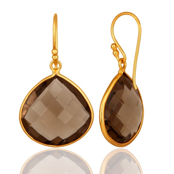 Suppliers Faceted Smoky Quartz 18K Gold Plated Sterling Silver Bezel-Set Hook Earrings
