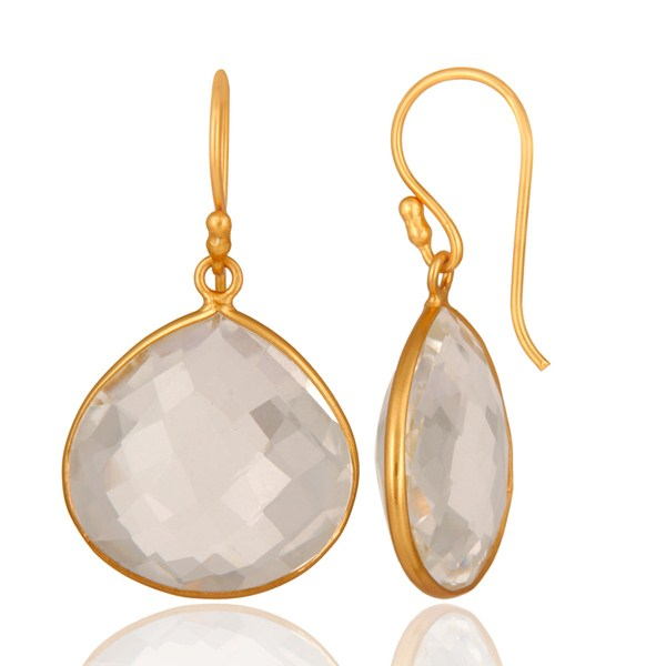 Suppliers 18K Yellow Gold Plated Sterling Silver Crystal Quartz Bezel Set Earrings