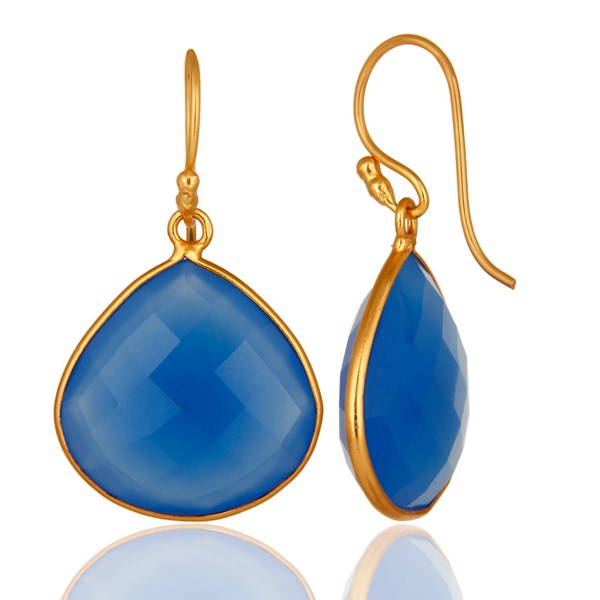18K Gold Plated Sterling Silver Blue Chalcedony Faceted Gemstone Earrings From Jaipur India