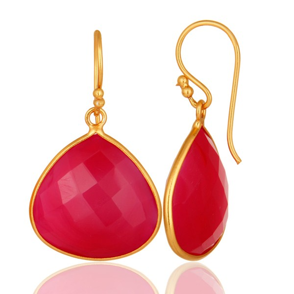 Dyed Chalcedony Gemstone Sterling Silver Drop Earrings - Yellow Gold Plated From Jaipur India