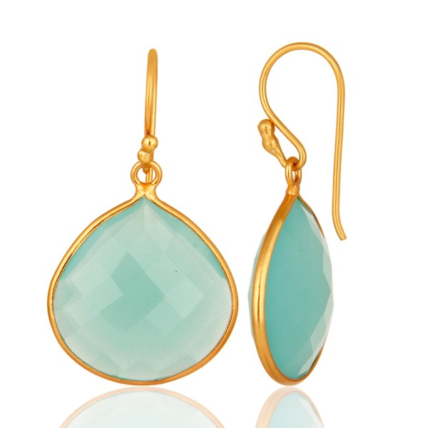 Suppliers Dyed Aqua Blue Chalcedony Gemstone 18K Gold Over Sterling Silver Dangle Earrings
