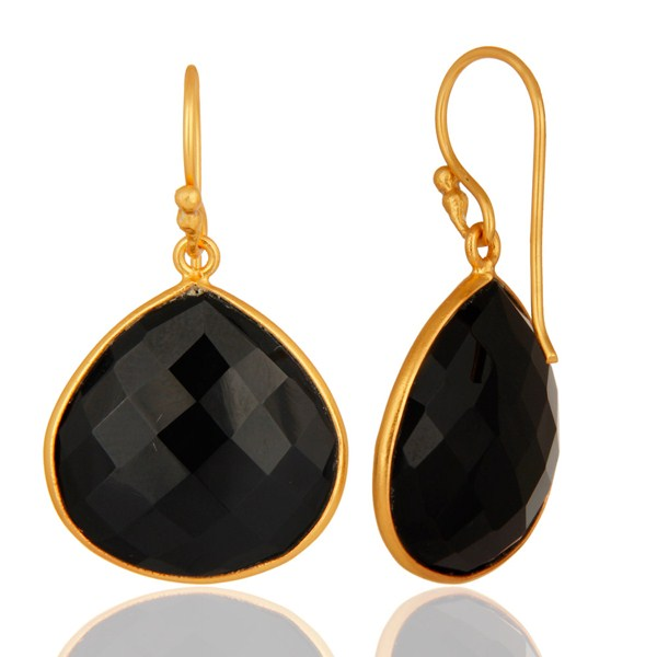Suppliers 18K Gold Plated Sterling Silver Black Onyx Faceted Gemstone Earrings
