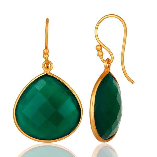 Suppliers Faceted Green Onyx Gemstone 24K Gold Plated Sterling Silver Drop Earrings