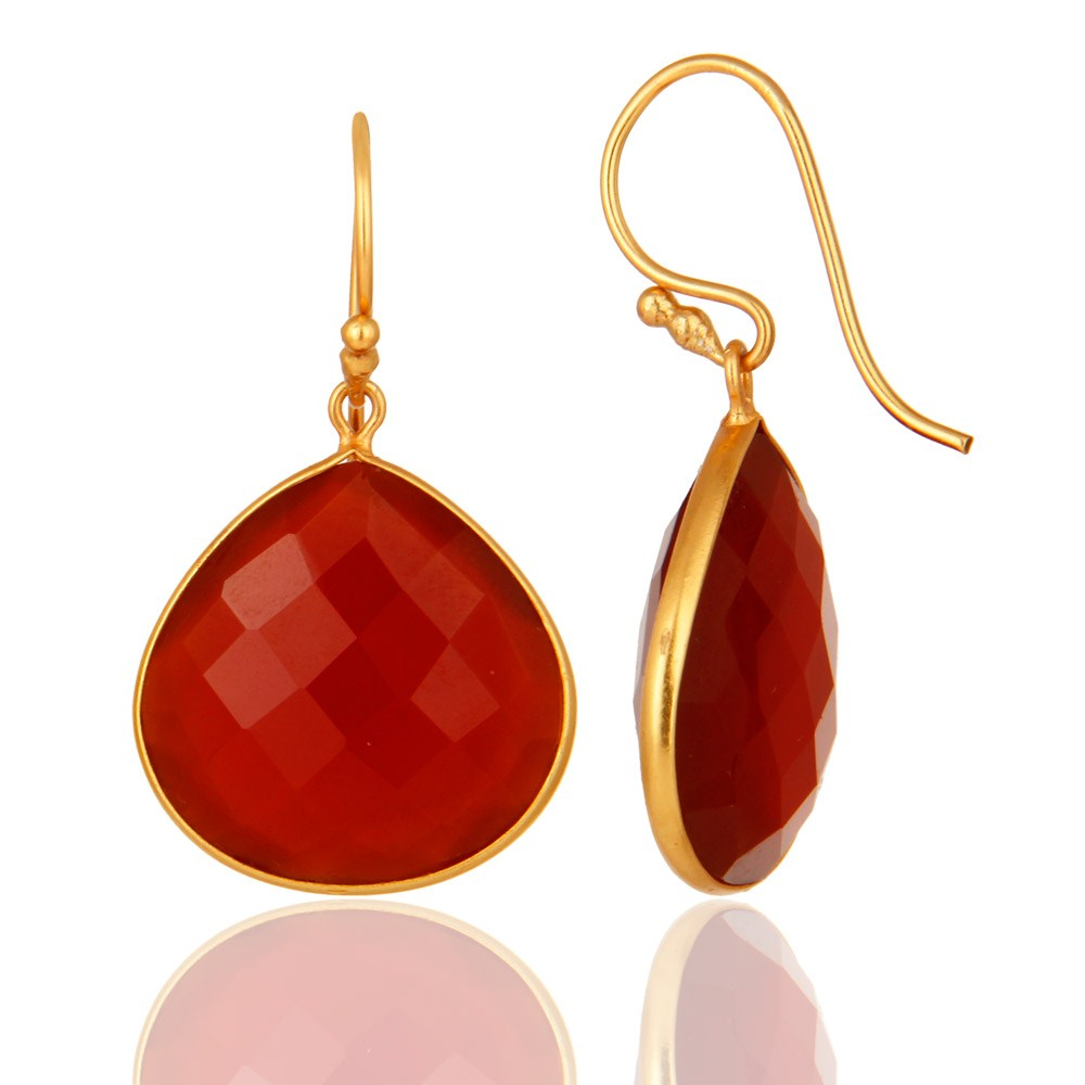 Suppliers 18k Gold over Sterling Silver Red Onyx Gemstone Faceted Drop Earrings