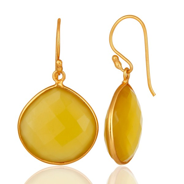 Suppliers Faceted Yellow Moonstone 24K Gold Plated Sterling Silver Drop Earrings