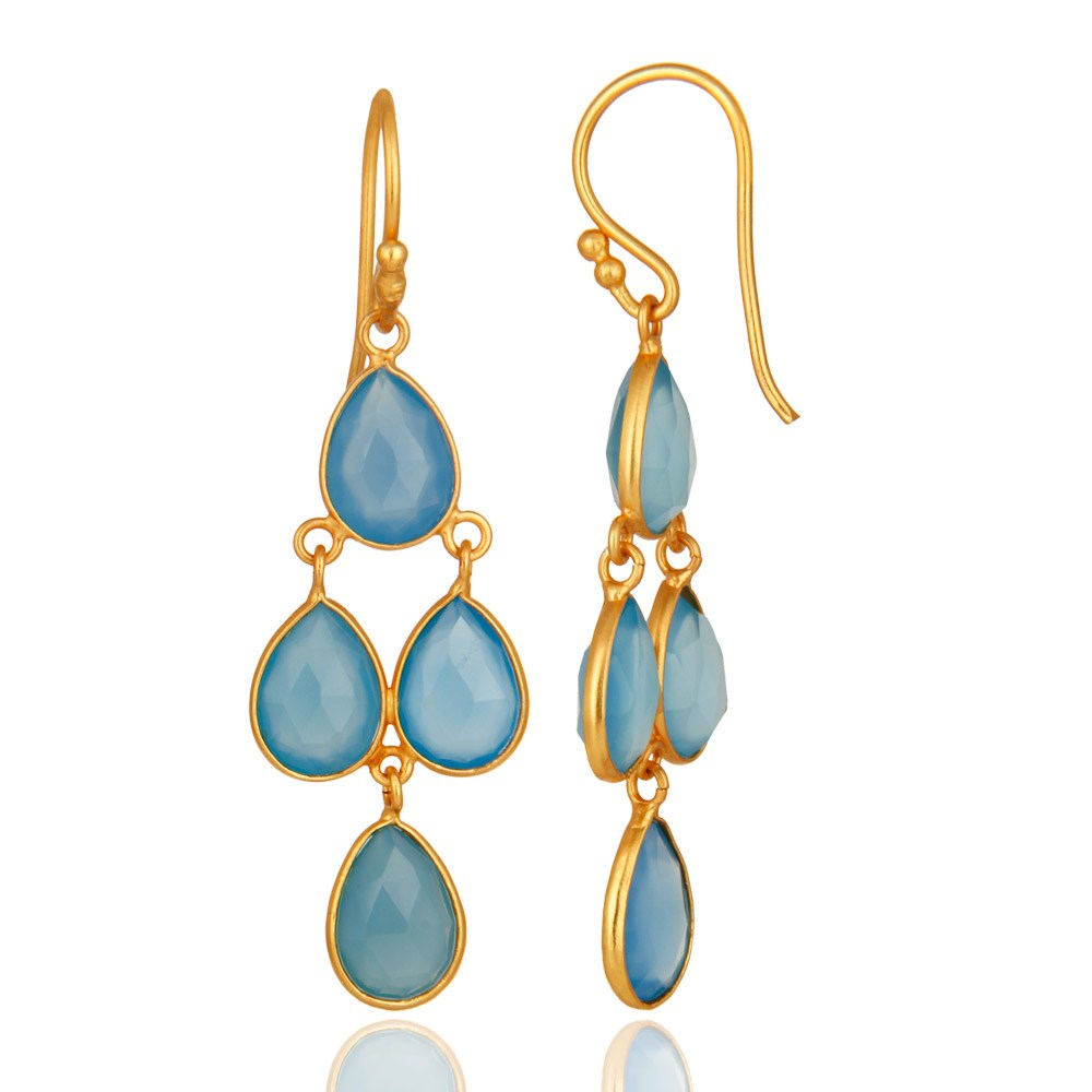 Faceted Dyed Blue Chalcedony Gemstone Earrings In 18K Gold On Silver From Jaipur India