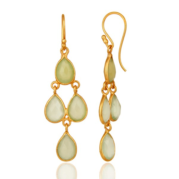 Gold Plated Sterling Silver Green Chalcedony Gemstone Chandelier Earrings From Jaipur India