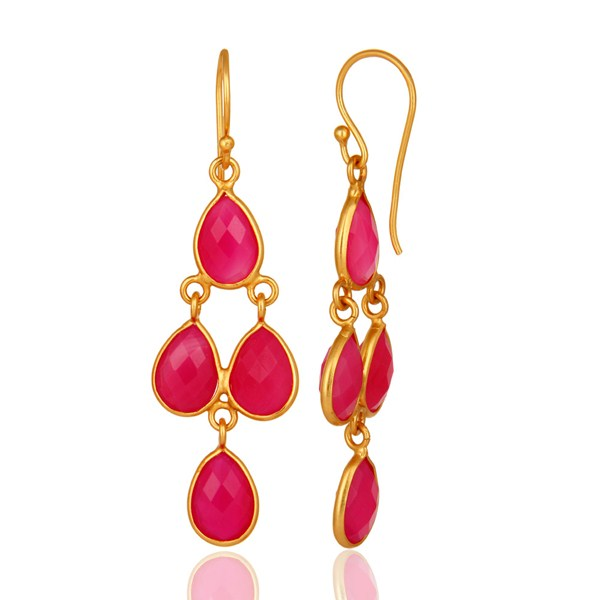 Suppliers 18K Yellow Gold Plated Sterling Silver Pink Chalcedony Bezel Set Dangle Earrings