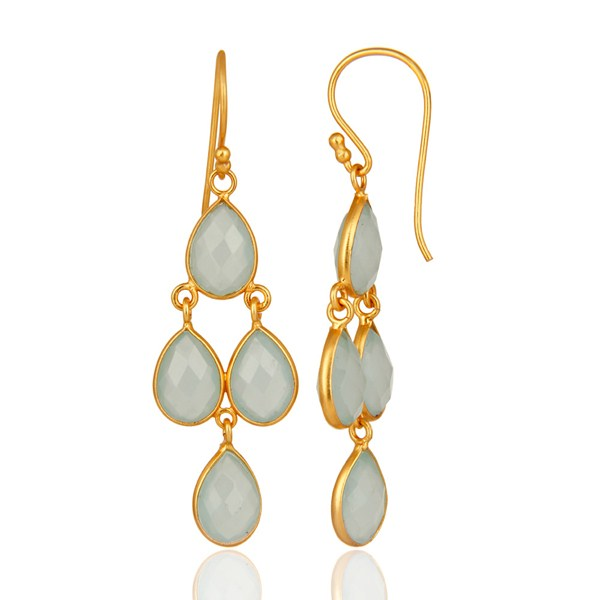 Suppliers Faceted Dyed Blue Chalcedony Bezel-Set Chandelier Earrings - Gold Plated Silver