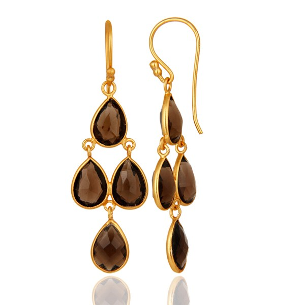 Suppliers 14K Yellow Gold Plated Sterling Silver Bezel-Set Smoky Quartz Chandelier Earring