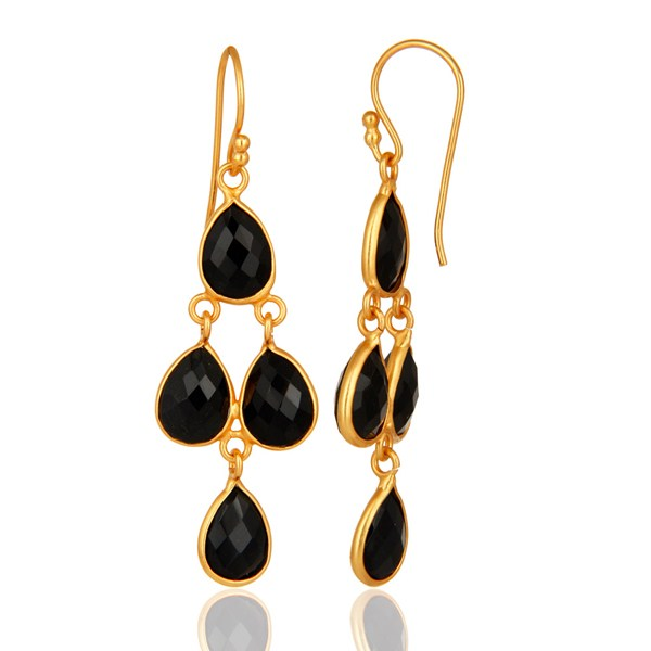 Faceted Black Onyx Gemstone Sterling Silver Earrings - Gold Plated From Jaipur India