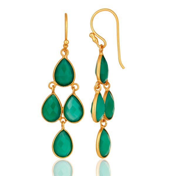 Suppliers Gold Plated Sterling Silver Green Onyx Gemstone Designer Dangle Earrings