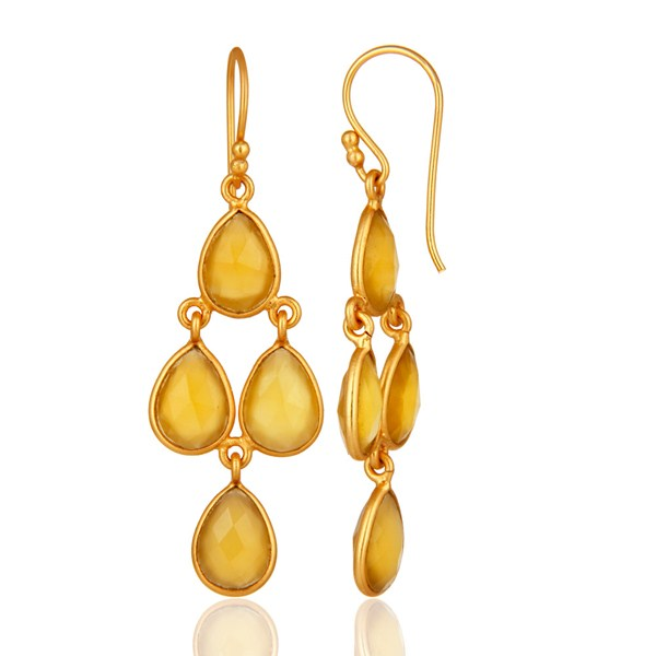 Suppliers Gold Plated Sterling Silver Chalcedony Bezel-Set Chandelier Earrings