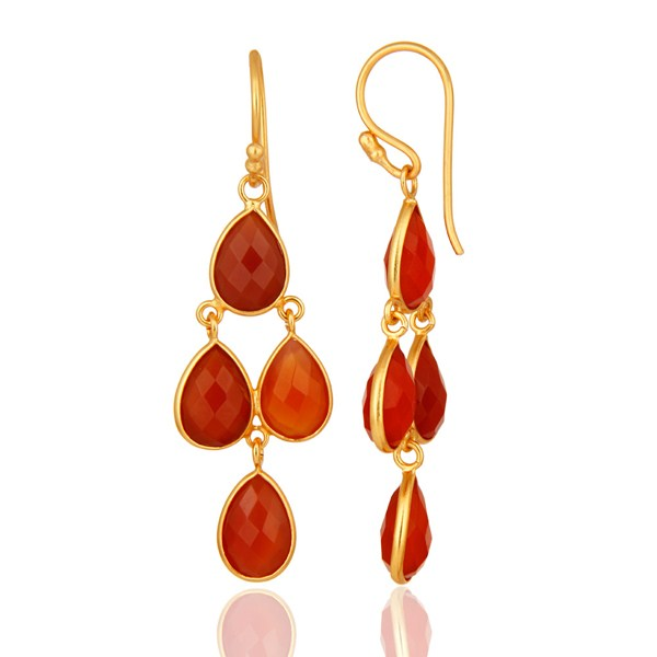 Suppliers Faceted Natural Red Onyx Gemstone Dangle Earrings in 18K Gold On Silver 925