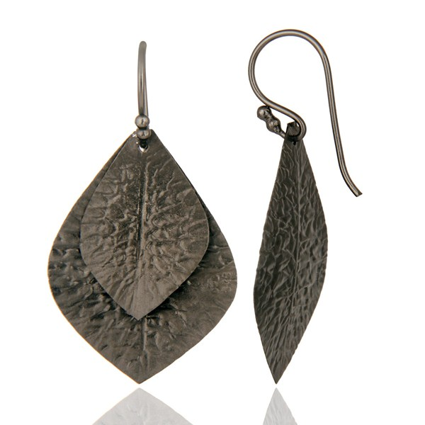 Black Rhodium Plated Sterling Silver Handcrafted Designer Earrings From Jaipur India