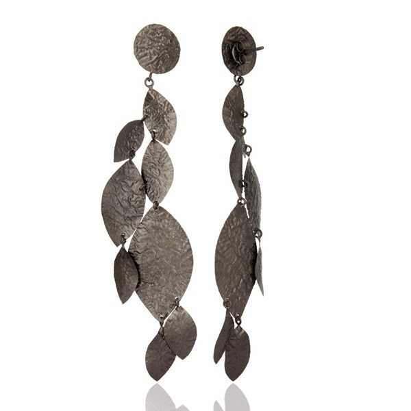 Suppliers Oxidized Solid Sterling Silver Designer Chandelier Earrings