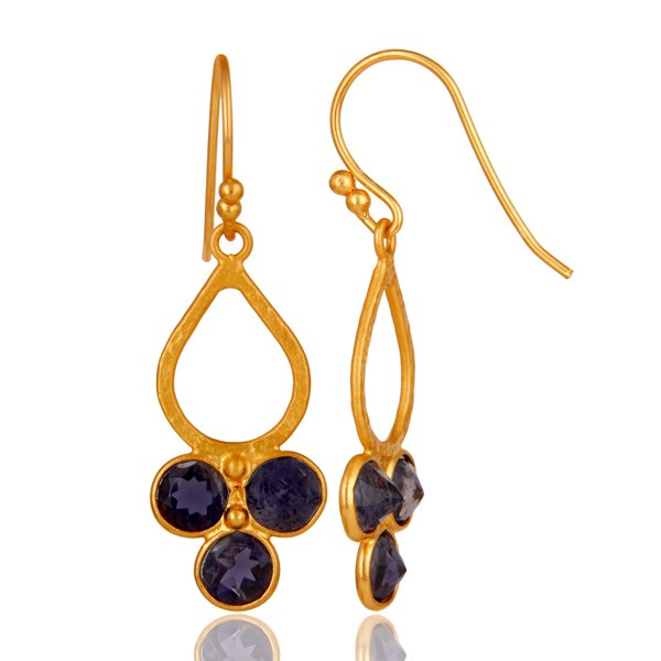 Suppliers 18K Gold Plated 925 Sterling Silver Handmade Iolite Dangle Earrings Jewelry
