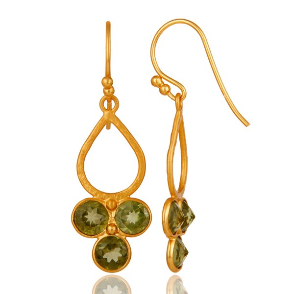 Suppliers 18K Gold Plated and Peridot Sterling Silver Handmade Dangler Earring