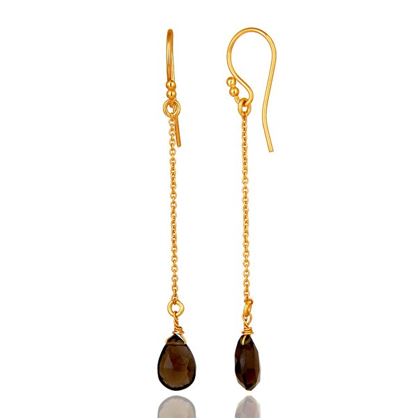 Suppliers Smoky Topaz Simple Chain Gold Plated Wholesale Earring Jewelry
