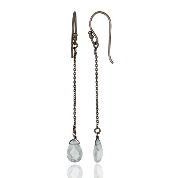 Suppliers Oxidized Sterling Silver Blue Topaz Gemstone Briolettes Chain Dangle Earrings