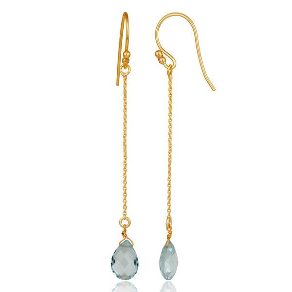 Suppliers 925 Sterling Silver Blue Topaz Briolette Link Chain Dangle Earrings