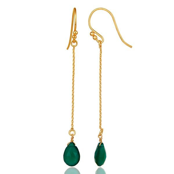 Suppliers 18k Gold Plated 925 Silver Faceted Green Onyx Gemstone Drop Link Chain Earrings