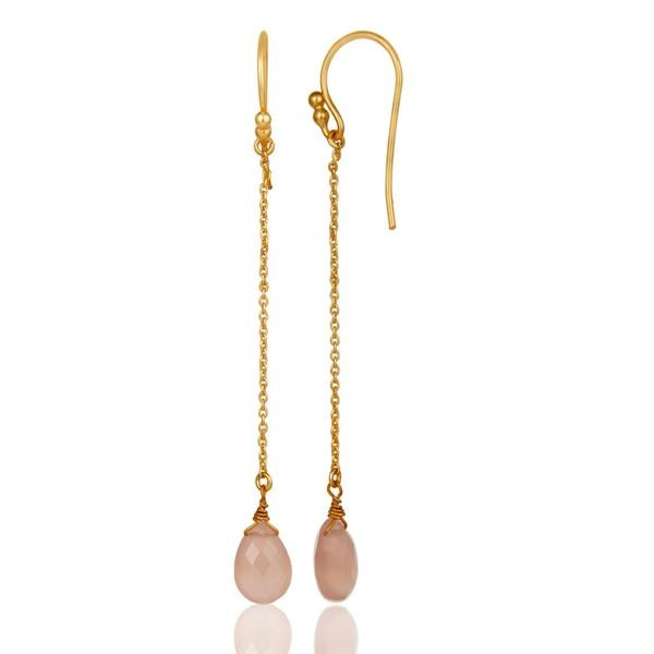18K Gold Plated Sterling Silver Rose Chalcedony Drop Link Chain Earrings From Jaipur India