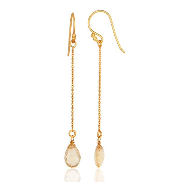 Suppliers 18K Yellow Gold Plated Sterling Silver Natural Citrine Briolette Chain Earrings