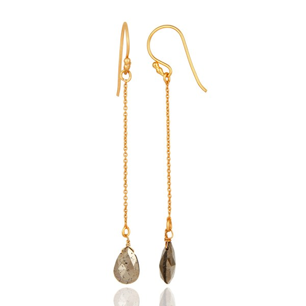 Suppliers 18K Yellow Gold Plated Sterling Silver Pyrite Teardrop Link Chain Dangle Earring