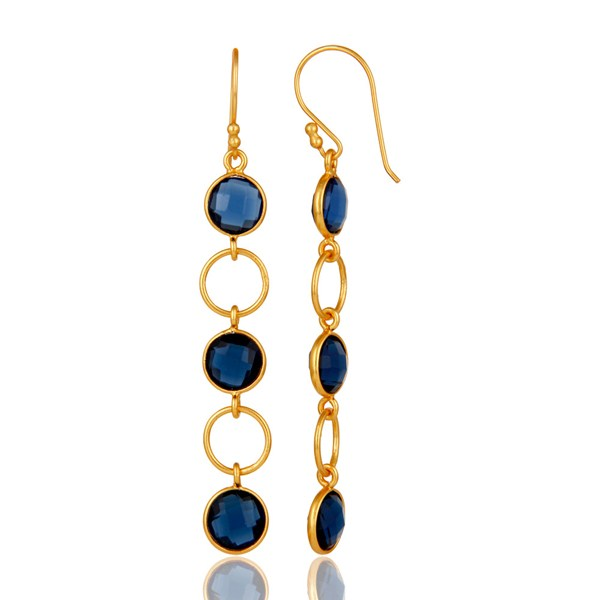 Suppliers Blue Corundum and 18K Gold Plated Sterling Silver Circle Dangler Earring