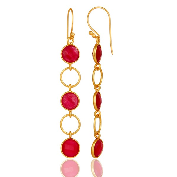 Suppliers Natural Aventurine and 18K Gold Plated Sterling Silver Circle Dangler Earring