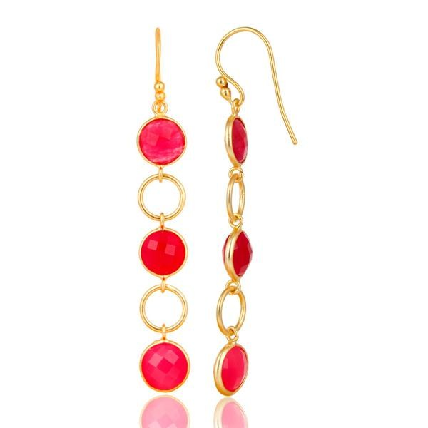 Suppliers Dyed Chalcedony 18K Gold Plated 925 Sterling Silver Circle Dangler Earrings