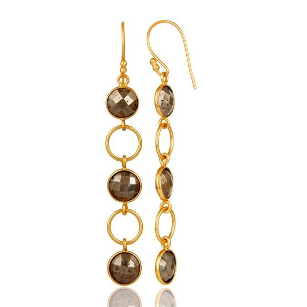 Suppliers Pyrite and 18K Gold Plated Sterling Silver Circle Dangler Earring