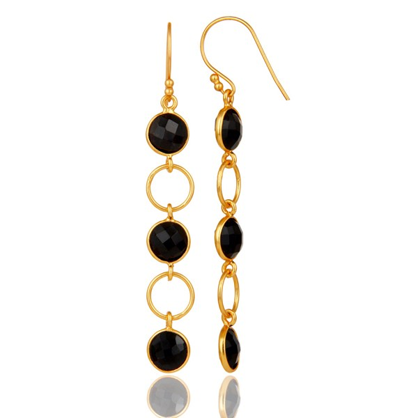 Suppliers Black Onyx and 18K Gold Plated Sterling Silver Circle Dangler Earring