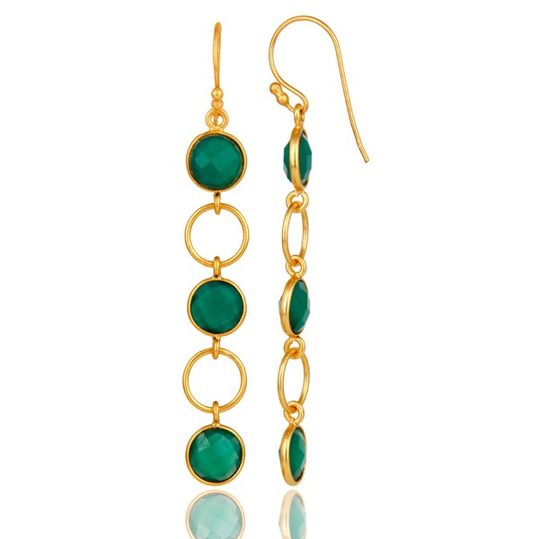 Suppliers Green Onyx and 18K Gold Plated Sterling Silver Circle Dangler Earring