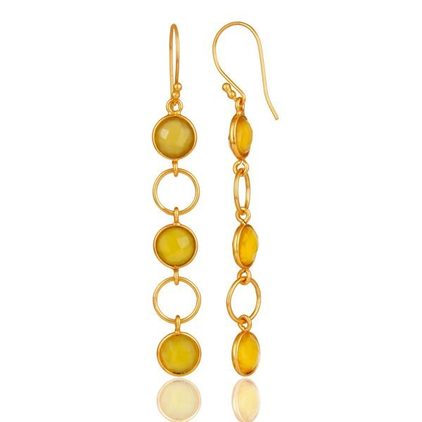 Suppliers Yellow Chalcedony and 18K Gold Plated Sterling Silver Circle Dangler Earring