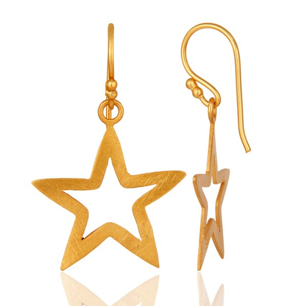 Suppliers 18K Yellow Gold Over Sterling Silver Star Design Womens Dangle Earrings