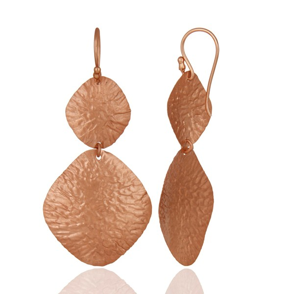 Suppliers 18K Rose Gold Over Sterling Silver Dangling Flake Drop Earrings