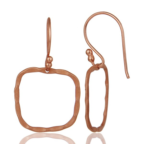 Suppliers 18K Rose Gold Plated Sterling Silver Hammered Open Circle Dangle Earrings