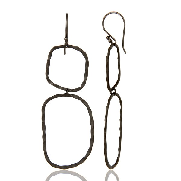 Suppliers Black Rhodium Plated Sterling Silver Hand Hammered Open Circle Dangle Earrings